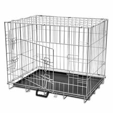 vidaXL Foldable Dog Bench L Metal Pet Transport Travel Carrier Crate Cage