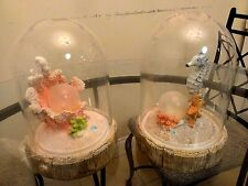 """2 X NEW Solar Pearl Mood & Seahorse LED Light in Glass Cover 8.5"""" H X 5.5"""" W"""
