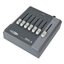 SHOWTEC SDS-6 DMX CONTROLLER Fader SCRIVANIA 6 CHANNEL 6ch BATTERIA & PSU Powered.