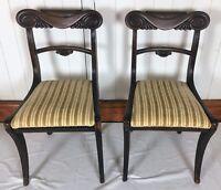 Pair Regency Mahogany Sabre Leg Dining Chairs