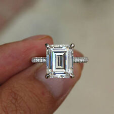 3.44 Ct Emerald Cut Diamond Engagement Rings Solid 14Kt Gold Band Size 5 6 7 8.5