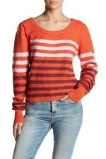 Free People Complete Me Orange White X Long Sleeve Cozy Top Sweater Size Small M