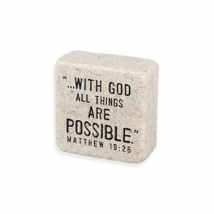 With God All Things are Possible Faith Scripture Stone Plaque Sign