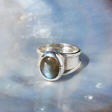 Echte Edelstein-Ringe mit Labradorit und Cabochon