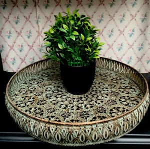 35cm Large Moroccan Style Ornate Metal Tray Iron Antique Vintage Decor Home NEW