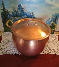 Ruffoni Hammered Copper Stock Pot/Kettle ~ 2 Brass Handles ~ 14 Qt. With Lid
