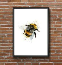 MODERN ABSTRACT WATERCOLOUR SPLATTER ART BUMBLE BEE PRINT WALL A4 GIFT