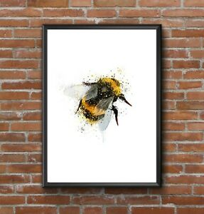 MODERN ABSTRACT WATERCOLOUR SPLATTER ART BUMBLE BEE PRINT WALL A4 GIFT