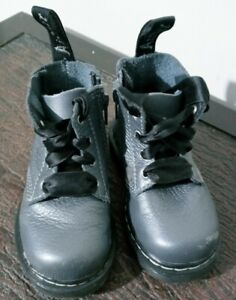 Dr. Martens 1460 PASCAL MONO T Gray Leather Lace Up/Zip Boots Toddler Size 6