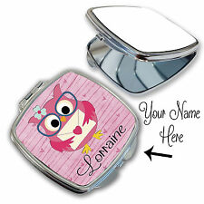 Personalised Owl Children Name Cute Compact Mirror Handbag Novelty Wedding Gift