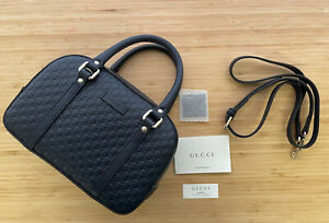Nwt Gucci gg guccissima Small Embossed Satchel Navy Crossbody tote Bag