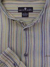 Saks Fifth Avenue Hombre Verde Oliva Dorado & Raya Azul Algodón Camisa Informal
