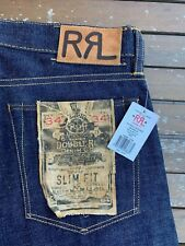 Double RL Ralph Lauren RRL - Slim Fit Raw 15OZ Selvedge Jeans Made in USA  34x34