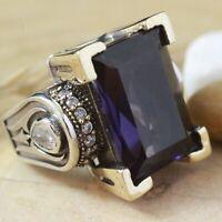 925 Sterling Silver Handmade Antique Turkish Amethyst Ladies Ring Size 8
