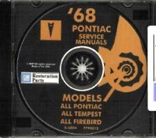 PONTIAC 1968 Bonneville, Catalina, GTO, Tempest, Fire Bird Shop & Body Manual CD