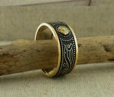 Sterling Silver &10K Celtic Warrior Shield Wedding Ring Irish Boru Size 9.5
