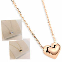 """1PC Gold Silver Polished Heart Charm Pendant Necklace 18"""" Chain Women Girls Gift"""