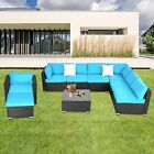 9 Pcs Outdoor Garden Furniture Sofa Ottoman Set Patio Sectional Couch Cushioned