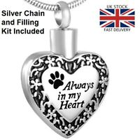 Always Heart Dog Cat Cremation Ashes Necklace Memorial Jewellery Pet Urn Pendant