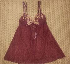 Victoria's Secret Very Sexy Burgundy 34B Underwire Bra Sheer Lace Slip Chemise