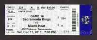 2010 LEBRON JAMES 1ST GAME Miami HEAT vs Sacramento KINGS 12/11 Full Ticket RARE