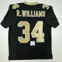 Autographed/Signed RICKY WILLIAMS New Orleans Black Jersey Beckett BAS COA Auto