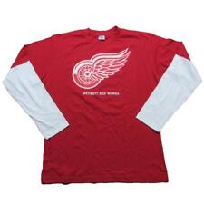 """New NHL Detroit Red Wings Men's Long Sleeve Jersey Large Red/White Wings """"Dirty"""""""
