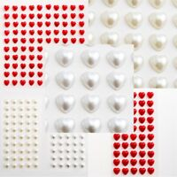 Pearl Heart Self Adhesive Gems Sheet Stick On 6mm & 10mm
