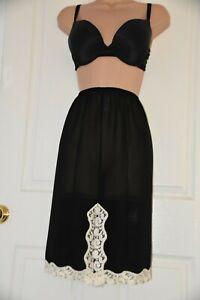 SLP B8 - Lovely semi-sheer waist slip, BN, UK 14, black with cream lace hem