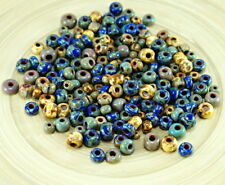 Anissa Exclusive Picasso Mix Czech Glass Seed Beads Rustic Blue Multicolor Strip
