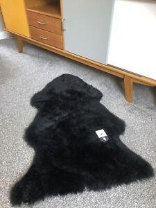 GENUINE RARE Black Soft Like Velvet Sheepskin Rug Plush Real Wool Large