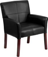 Black Leather Executive Office Side Reception Chair with Mahogany Legs