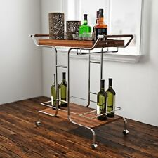 Modern Serving Bar Cart Removable Tray Metal Wood Glass Stemware Chrome Brown