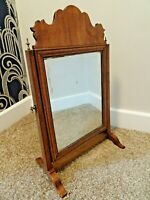 Antique 19th Century Mahogany Table Top Swing Mirror Carved Top & Brass Fixtures