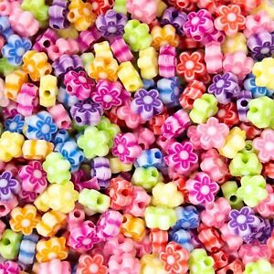Multicoloured Pastel Flower Acrylic Beads. Choice Of Sizes.