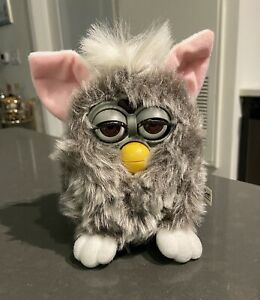 Original Vintage 1998 Furby w/ Tag Grey with Pink Ears & White Tail Untested