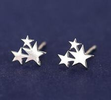 Korea Fashion Stylish 3-Stars Big & Small 925 Silver Plated Mini Club Earrings