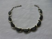 "Vtg Lisner Thermostate Gray Plastic Chrome Art Deco Choker Necklace 14"" Signed"