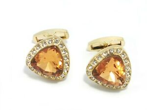 Rose Gold Cufflinks with golden Square Crystal with FREE Gift Pouch