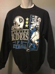 Vtg 90s Oakland Los Angeles Raiders Sweatshirt Mens L-XL NFL Football Logo Black