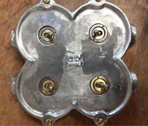 NEW Cast Metal 4 Gang Vintage Industrial Light Switch - BS EN Approved