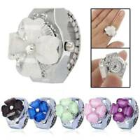 Creative Women Lady Steel Round Dial Elastic Finger Ring Quartz Watch Girl Gifts