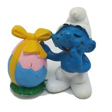 Smurfs 20490 Easter Egg Smurf Rare Vintage 1984 Figure PVC Toy Lot Peyo Figurine