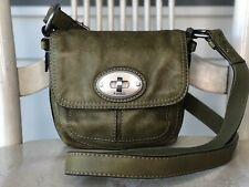 FOSSIL MADDOX Olive Green Small Leather Flap Turnlock Swing Pack Crossbody Purse
