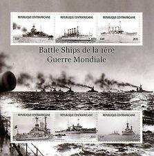 Central African Republic 2015 MNH WWI WW1 Battleships 6v M/S Battle Ships Stamps