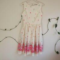 Lindy Bop A-Line Cream Pink Floral Dress UK/AU10 S Vintage-Style Feminine Pinup