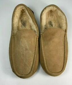 UGG Ascot Sand Suede Fur Lined Warm Slippers Moccasins Men's Size 11 5396