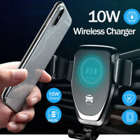 10W QI Wireless Fast Charger Car Mount Holder Stand For iPhone Samsung Huawei LG