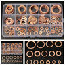 150Pcs Assorted Solid Copper Crush Washers Seal Flat Ring Set Hydraulic Fittings