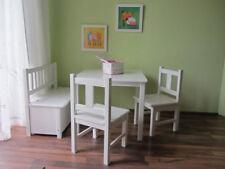 Child Seat 1 X Children's Table 2 High Chair 1 Children White Solid Wood